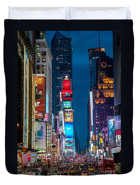 Times Square I Duvet Cover by Ray Warren