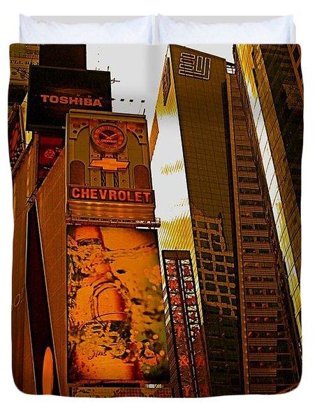 Times Square In Manhattan Duvet Cover