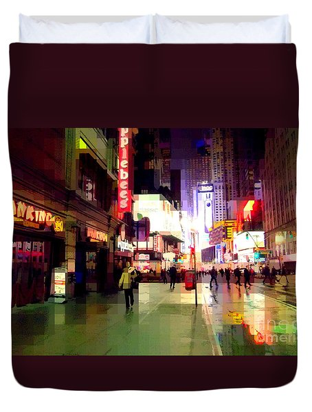 Times Square New York - Nanking Restaurant Duvet Cover