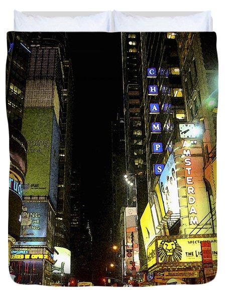 Times Square Photofresco Duvet Cover by Joseph Hedaya