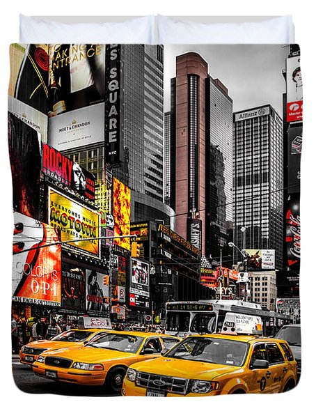 Times Square Taxis Duvet Cover by Az Jackson