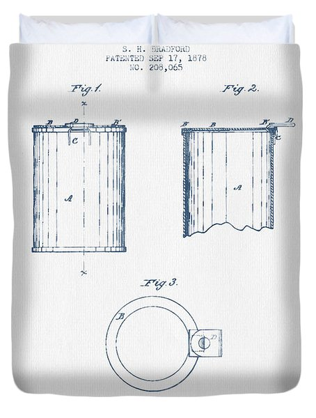 Tin Can Patent Drawing From 1878 - Blue Ink Duvet Cover
