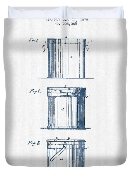 Tin Cans Patent Drawing From 1878 - Blue Ink Duvet Cover