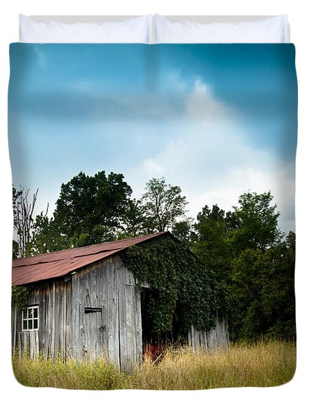 Tin Roof...ivy Covered Barn Duvet Cover by Shane Holsclaw