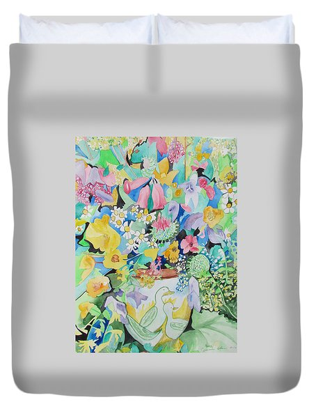 Duvet Cover featuring the painting Tinkerbells And Duckies by Esther Newman-Cohen
