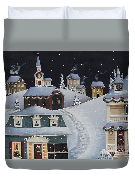 Tinsel Town Christmas Duvet Cover by Catherine Holman