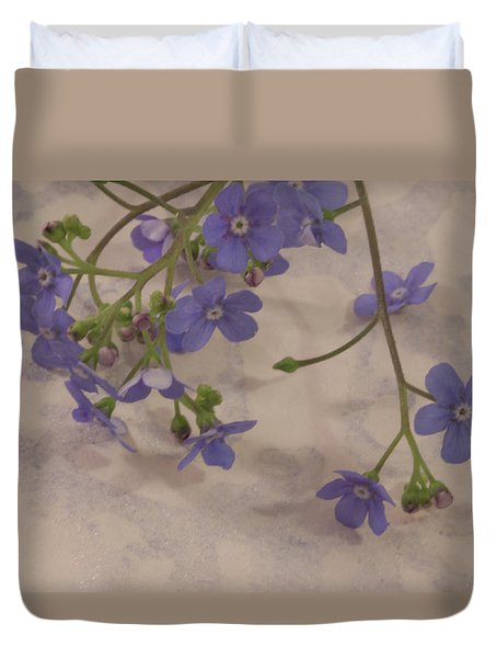 Duvet Cover featuring the photograph Tiny Blue by Sandra Foster