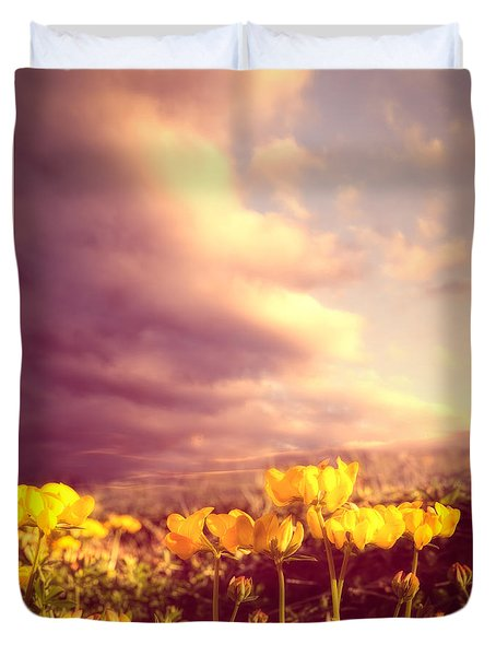 Tiny Flowers Duvet Cover by Bob Orsillo