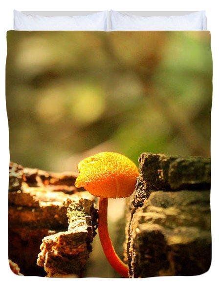 Tiny Mushroom Duvet Cover by Melissa Petrey