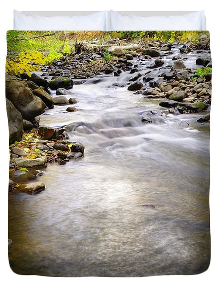 Tiny Rapids At The Bend  Duvet Cover by Jeff Swan