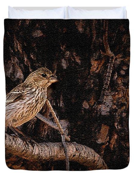 Tiny Sparrow Huge Tree Duvet Cover by Bob and Nadine Johnston