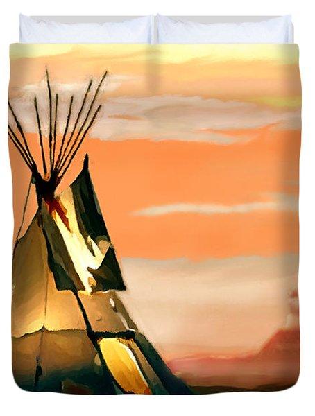 Tipi Or Tepee Monument Valley Duvet Cover