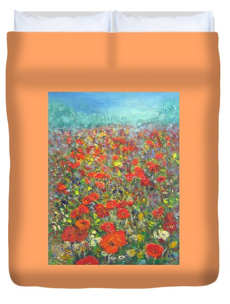 Tiptoe Through A Poppy Field Duvet Cover by Richard James Digance