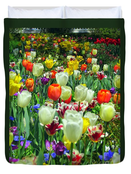Tiptoe Through The Tulips Duvet Cover by Elizabeth Dow