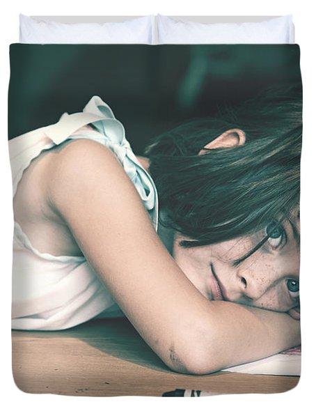 Tired Girl By Jan Marvin Duvet Cover