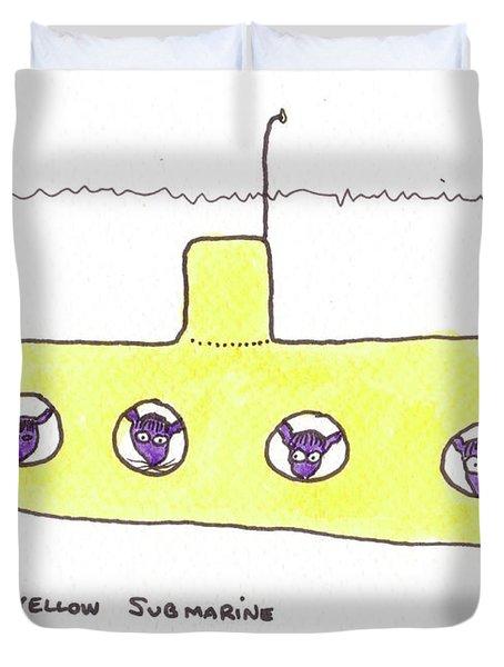 Tis Yellow Submarine Duvet Cover by Tis Art