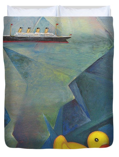 Titanic And The Ducky Duvet Cover