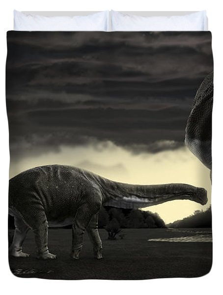 Titanosaurs In The First Storm Duvet Cover by Rodolfo Nogueira