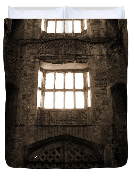 Titchfield Abbey Gatehouse In Sepia Duvet Cover by Terri Waters