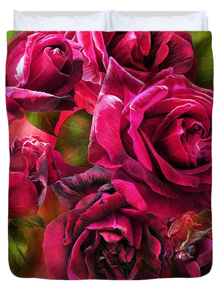 Duvet Cover featuring the mixed media To Be Loved - Red Rose by Carol Cavalaris