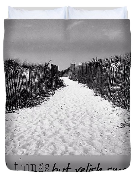 To The Beach Quote Duvet Cover by JAMART Photography