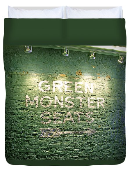 To The Green Monster Seats Duvet Cover by Barbara McDevitt