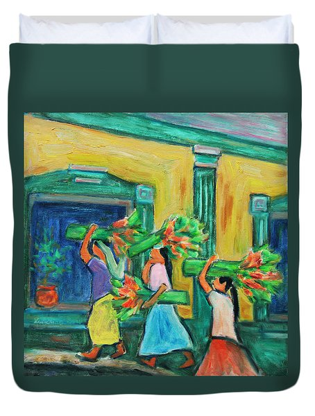 To The Morning Market Duvet Cover by Xueling Zou