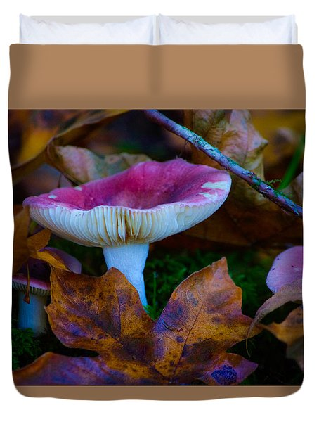 Duvet Cover featuring the photograph Toadstools by Adria Trail