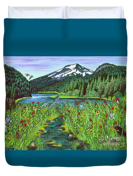 Todd Lake Mt. Bachelor Duvet Cover