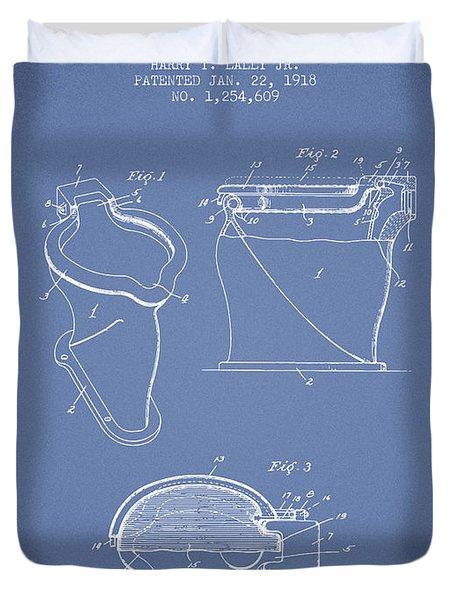 Toilet Bowl Patent From 1918 - Light Blue Duvet Cover