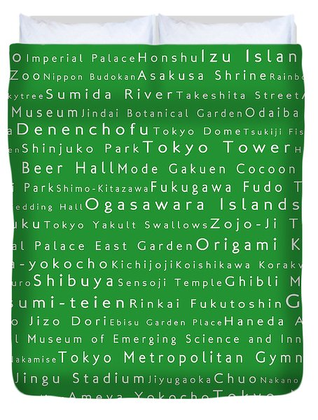 Tokyo In Words Green Duvet Cover by Sabine Jacobs