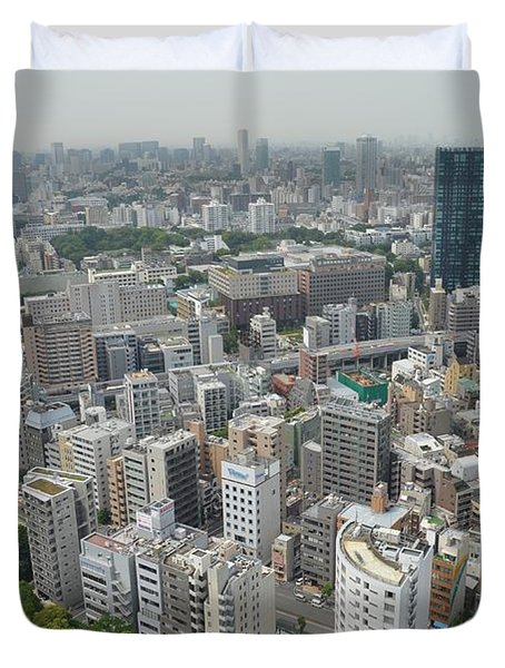 Tokyo Intersection Skyline View From Tokyo Tower Duvet Cover by Jeff at JSJ Photography