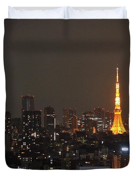 Tokyo Skyline At Night With Tokyo Tower Duvet Cover by Jeff at JSJ Photography