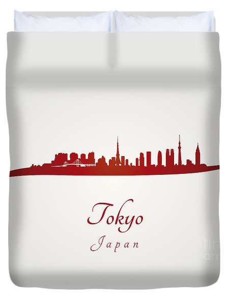 Tokyo Skyline In Red Duvet Cover by Pablo Romero