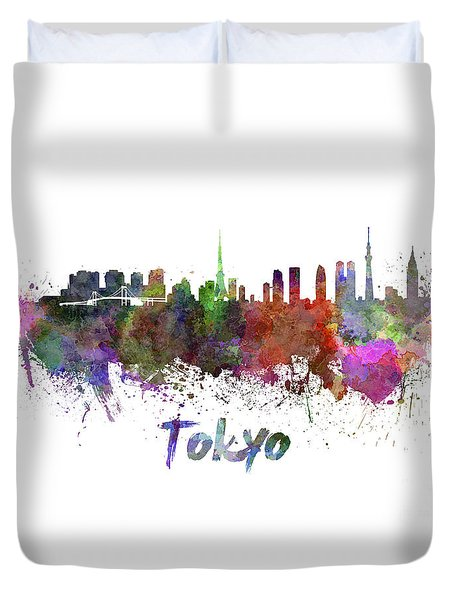Tokyo Skyline In Watercolor Duvet Cover by Pablo Romero