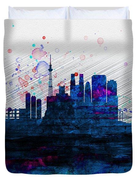 Tokyo Watercolor Skyline 2 Duvet Cover