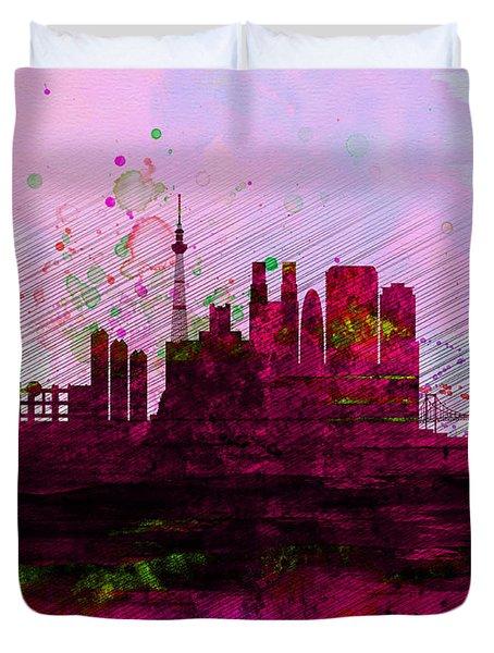 Tokyo Watercolor Skyline Duvet Cover