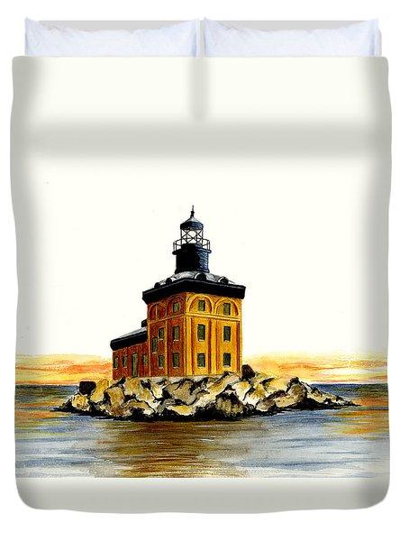 Toledo Harbor Lighthouse Duvet Cover by Michael Vigliotti
