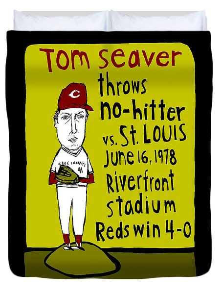 Tom Seaver Cincinnati Reds Duvet Cover by Jay Perkins