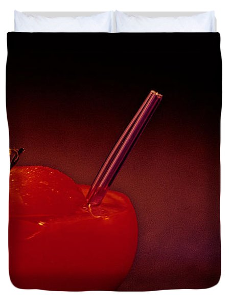 Duvet Cover featuring the photograph Tomato Juice by Sharon Elliott