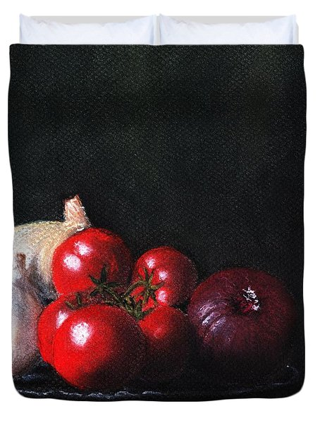 Tomatoes And Onions Duvet Cover