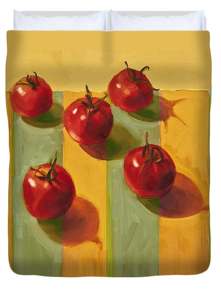 Tomatoes Duvet Cover by Cathy Locke