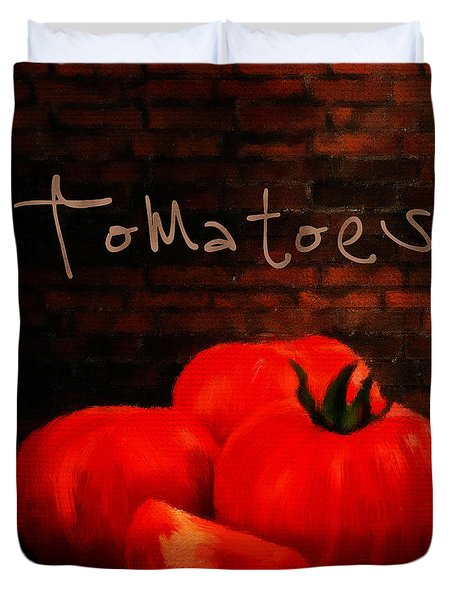 Tomatoes II Duvet Cover by Lourry Legarde