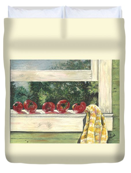 Tomatoes On The Sill Duvet Cover