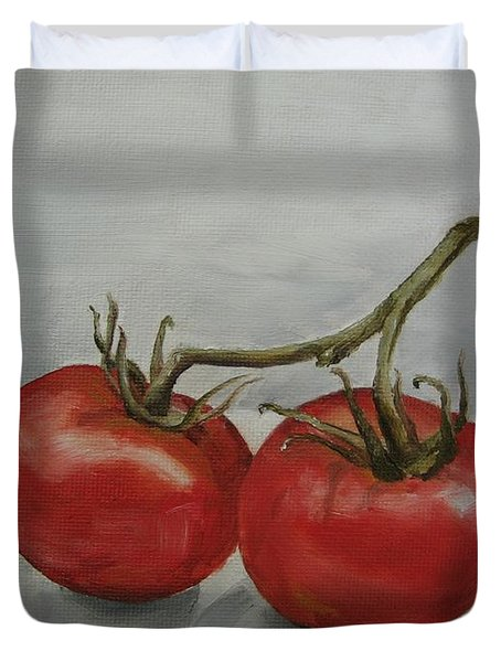 Tomatoes On Vine Duvet Cover by Jindra Noewi