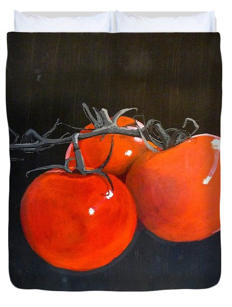 Duvet Cover featuring the painting Tomatoes by Richard Le Page