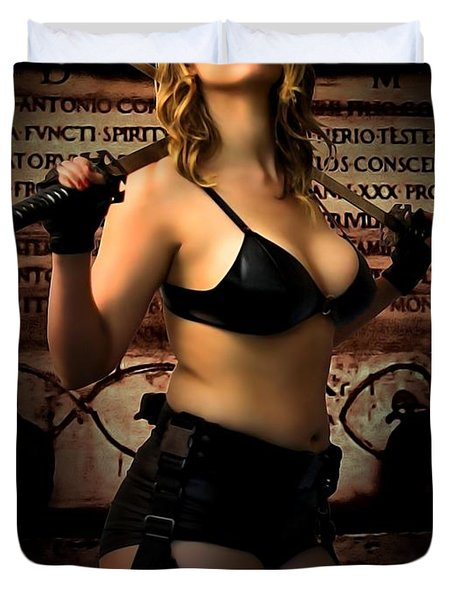 Tomb Raider At The Temple Of Death Duvet Cover