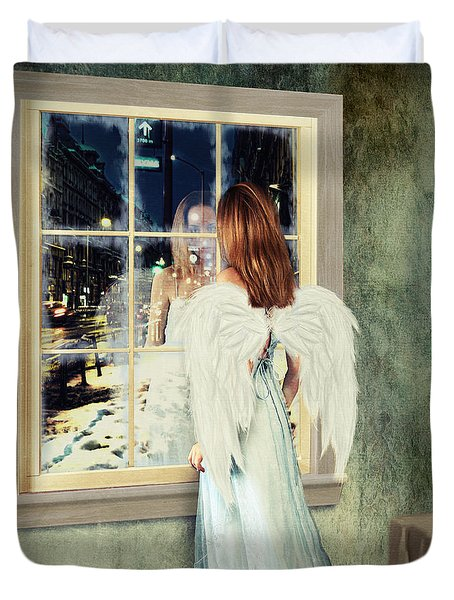 Too Cold For Angels Duvet Cover