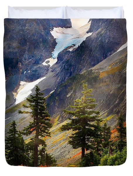 Top Of Cascade Pass Duvet Cover by Inge Johnsson