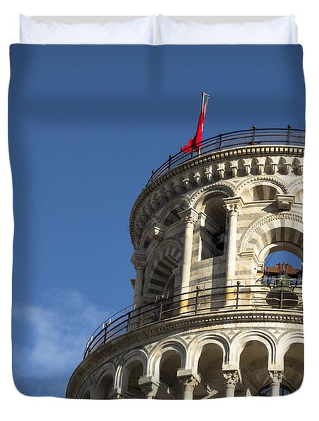 Top Of The Leaning Tower Of Pisa Duvet Cover